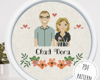 Modern custom cross stitch commission family portrait Thinking of you relationship gifts Parents wedding gift