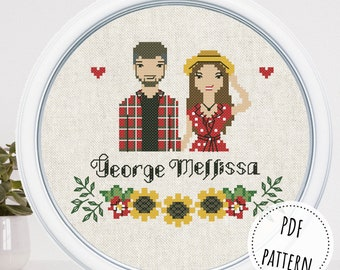 Custom cross stitch couple portrait, family portrait from photo, relationship gift for couple, thinking of you gift