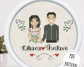 Custom one year anniversary cross stitch portrait from photo Just engaged couple portrait Bridal shower gift