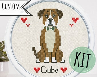 Custom cross stitch pet portrait DIY kits for adults Personalized ornament pet parent gift dog lover gift cat mom gift