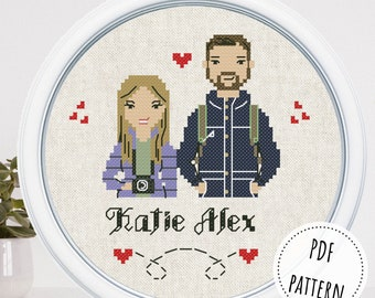 Custom modern cross stitch couple portrait from photo 1st anniversary new home gift for boyfriend and girlfriend