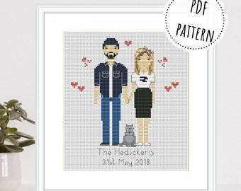 Custom modern cross stitch couple portrait from photo Personalized engagement gift Cartoon family 2nd anniversary gift