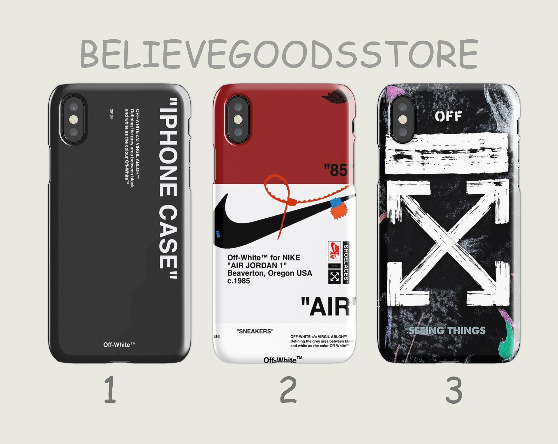 best loved e4671 08573 Off White Black Off White Sneakers AJ Air Off White Seeing Things iPhone  Case X 6 7 8 Plus XR XS Samsung Galaxy Case S 6 7 8 9 10 Plus Edge