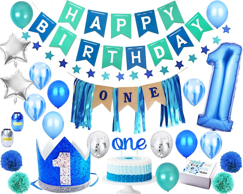 1st Birthday Boy Decorations 'Mega Set' | High Chair Decoration, Blue &  Silver Crown Hat, Happy Birthday Banner, ONE Cake Topper, Balloons +