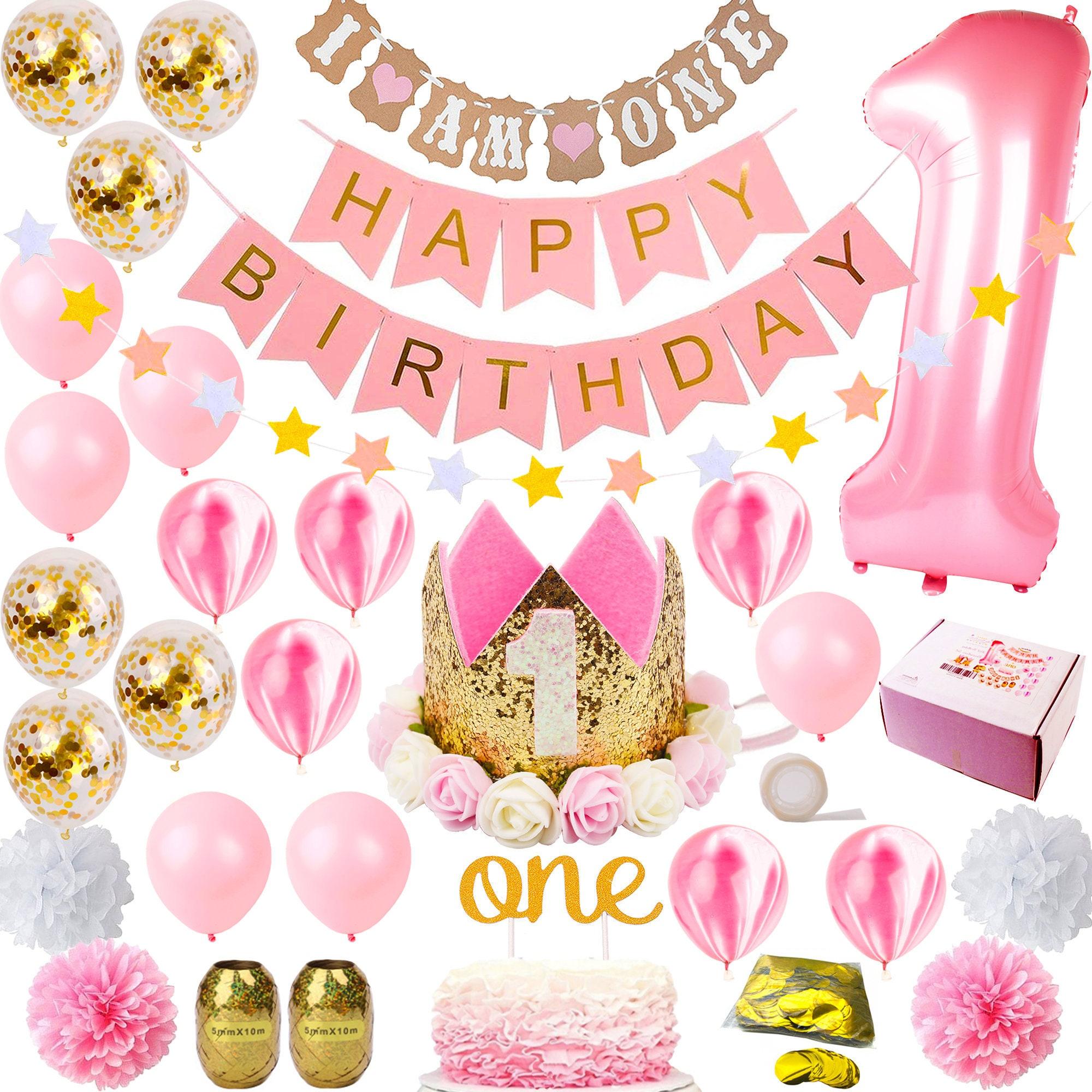 1st Birthday Girl Decorations Crown Hat Cake Topper Mylar