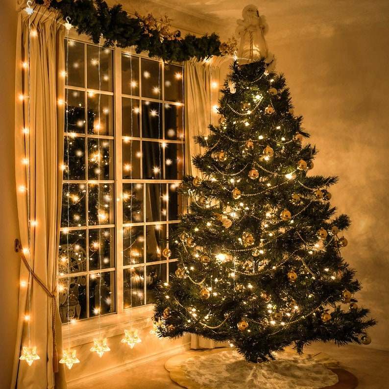 Christmas Fairy Light Window Curtain Lights Plug in String Lights with 10 Stars 8 Flashing Modes Decoration for Party,Wedding,Bedroom,Lawn