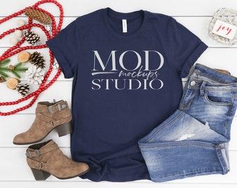 f3a151e30 Bella Canvas 3001 Navy T-shirt Mockup   Holiday Mockup, T-shirt Flat ...