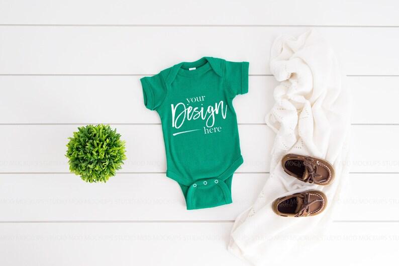 Baby Mockup Rabbit Skins 4400 Mockups Rabbit Skins Mockup Baby Mock-up Baby Mock up KELLY Green Baby Bodysuit Mockup Infant Mockup