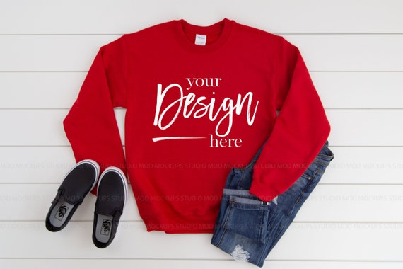 Sweatshirt Mockup Gildan 18000 Mockup RED Sweatshirt t-shirt mockup Gildan Mockup Sweatshirt Mock up Farmhouse mockup