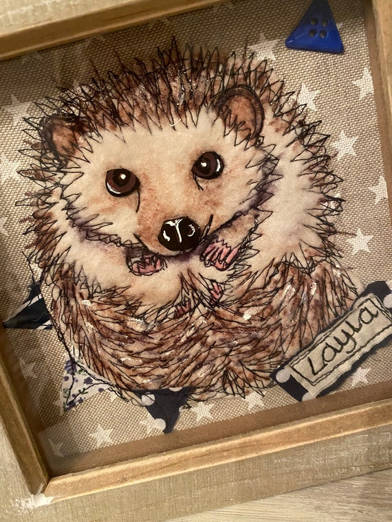 Custom Unique Hedgehog Pet Portrait Paper Wall Art Personalised Gift For Hedgehog Lovers Framed