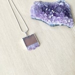 SALE: Geode Amethyst Slab Necklace in Silver, Silver Necklace, Raw Gemstone Pendant for Mother's Day