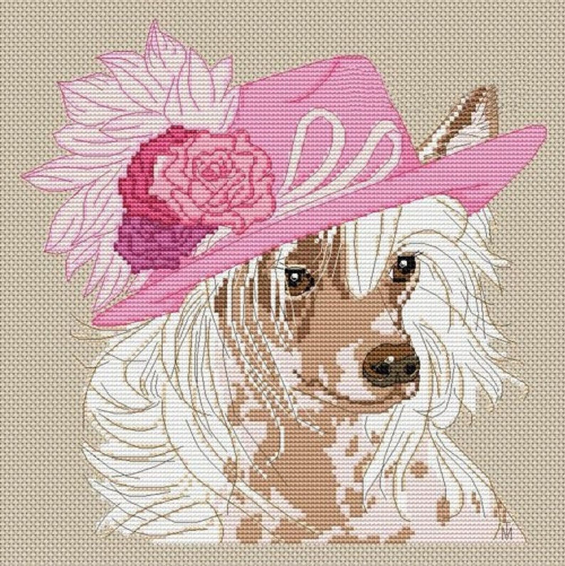 Chinese Crested Dog Counted Cross Stitch Pattern