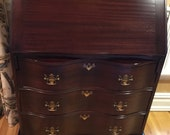 Antique Vintage Secretary With Curved Front Ball Claw Feet