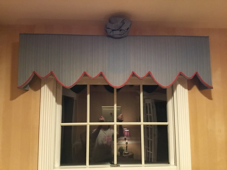 Scalloped Cornice With Strie Fabric and Welting Trim