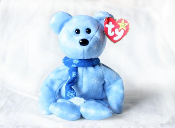 Christmas Bear.1999 Holiday Teddy Christmas Beanie Baby Ty Christmas Bear Blue Christmas Beanie Babies Vintage Plush Toy Collectable Christmas Beanie Baby