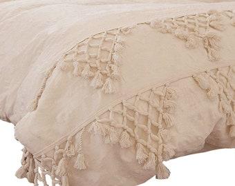 Tassel Duvet Cover 3 Pc Set, Cotton Duvet Cover Full, King Comforter Cover, Queen Duvet Set, Boho Bedding, White Duvet Cover With Fringes