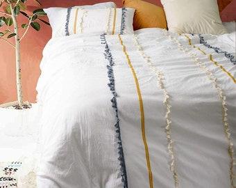 Handmade 3 Line Tassels Fringe Doona Duvet Cover Boho Bedding Cotton Exclusive Duvet Cover Hippie Comforter Cover Bohemian Quilt Cover