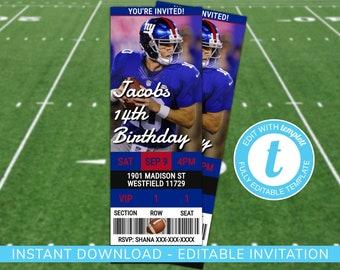 New York Giants Custom Birthday Invitation 546b62997