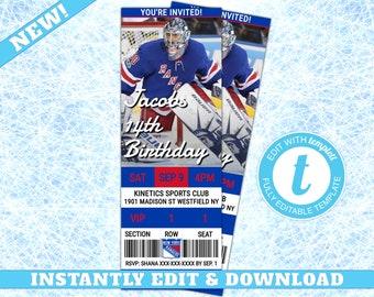 New York Rangers Custom Birthday Invitation EDIT YOURSELF Editable Hockey Invite Ticket