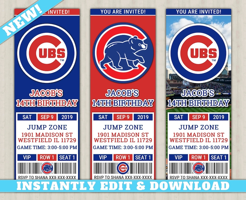 image about Printable Cubs Schedule known as Chicago Cubs Invitation Contemporary, EDIT Your self, Printable Baseball Invite, Cubs Editable Birthday Invitation, Cubs Ticket Invitation