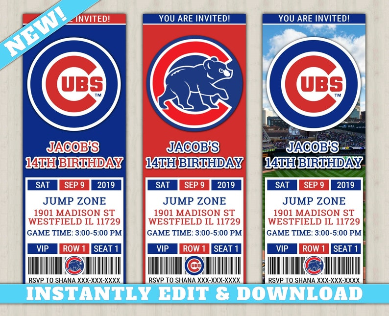 photo regarding Printable Cubs Logo identify Chicago Cubs Invitation Fresh, EDIT By yourself, Printable Baseball Invite, Cubs Editable Birthday Invitation, Cubs Ticket Invitation