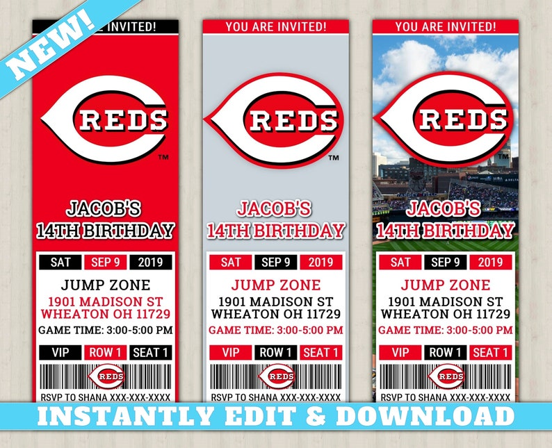 picture regarding Cincinnati Reds Printable Schedule identified as Cincinnati Reds Invitation Clean, EDIT By yourself, Printable Baseball Invite, Reds Editable Birthday Invitation, Reds Ticket Invite