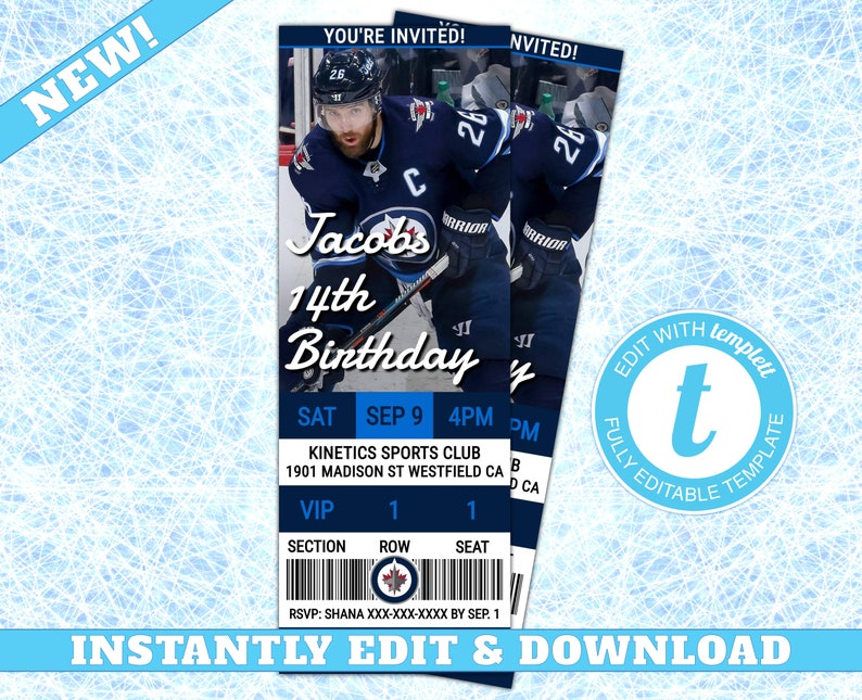 buy online bea77 c048d Winnipeg Jets Custom Birthday Invitation, EDIT YOURSELF, Editable Winnipeg  Jets Invitation, Jets Hockey Invitation, Jets Ticket Invitation