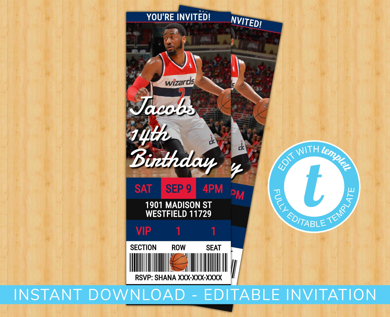 420eeb8fc1e5 Washington Wizards Custom Birthday Invitation EDIT YOURSELF