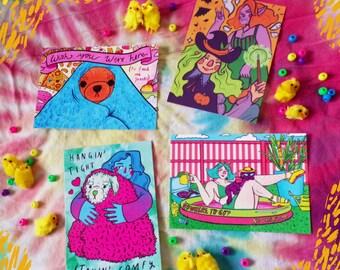 Bumper Pack of Rickwood Illustration Post Snail Press Postcards (pack of 4)