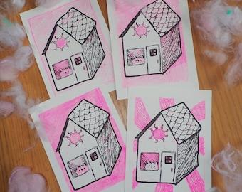 "Doggo House (Free Him) 5x7"" Risograph Art Prints - Fluro Pink + HD Black Soy-based Inks"