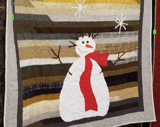 Homemade Flannel Snowman Quilt, Handmade Snowman Wall Hanging
