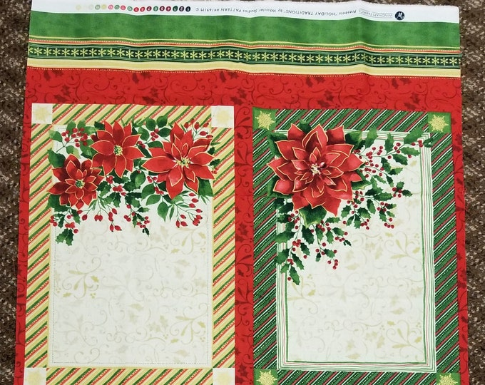 Christmas Placemat Fabric Panel, Holiday Quilt Panel, 4 placemats