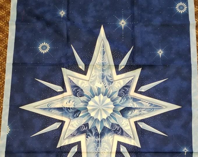 Christmas Star Quilt Panel, Bethlehem Star Fabric Panel, Blue Star Panel