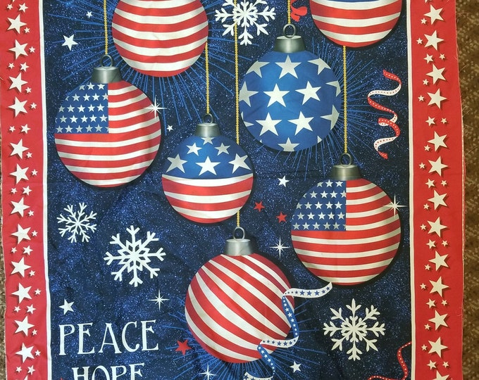 Patriotic Christmas Ornament Fabric Panel, USA Peace, Love and Joy Quilt Panel