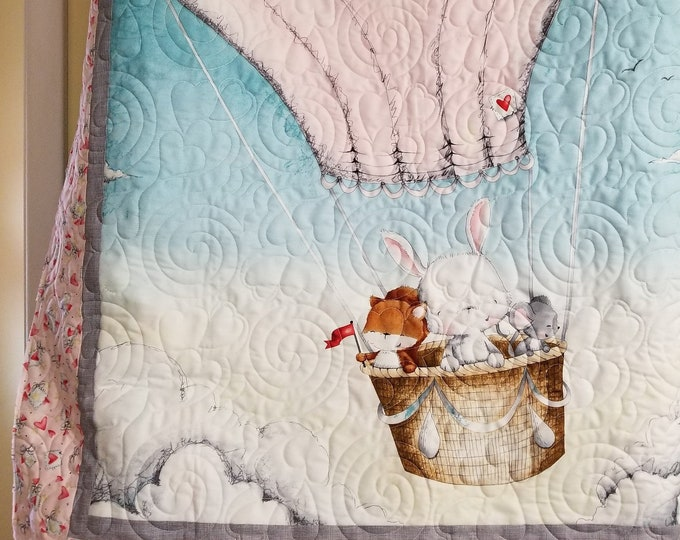Handmade Baby Quilt, Homemade Lap Quilt, Quilt for Sale, Bunny Quilt, Balloon Quilt, Wall Hanging
