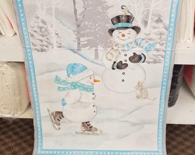 Snowmen Fabric Panel, Ice Skating Smowman Quilt Panel