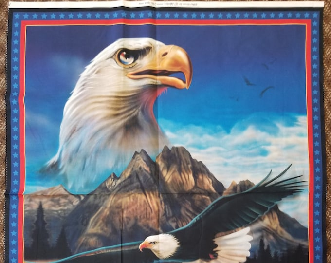 Eagle and the Flag Quilt Panel, Patriotic American Eagle & US. Flag Fabric Panel