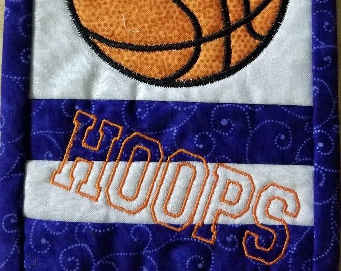 Basketball Mug Rug, Embroidered drink coaster, Hoops, Handmade Mug Rug, Homemade Drink Coaster