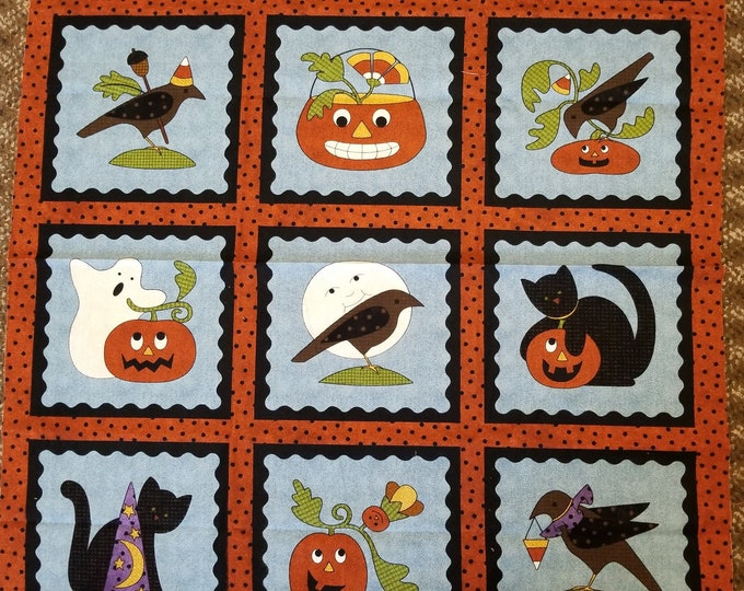 Happy Halloween Pumpkin Fabric Panel Cute Flannel, Quilt Panel