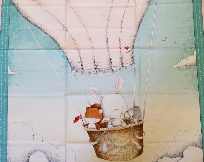 "Up Up & Away - Balloon Panel - Baby Animals - 1 Panel (36""x44"")"