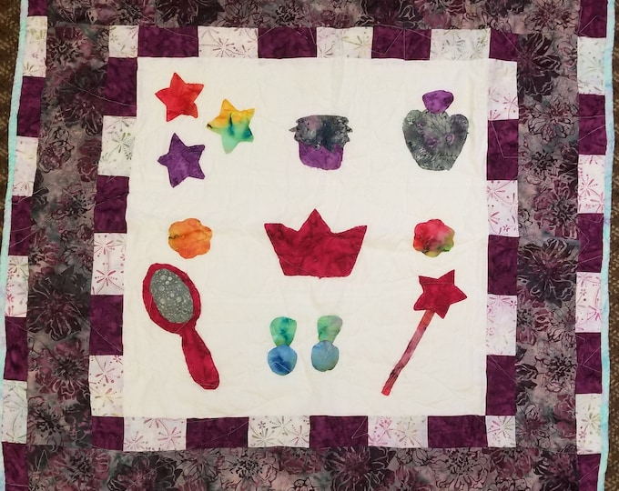 "Princess Quilt, Raw Edge Applique, 35"" x 35"", #3"