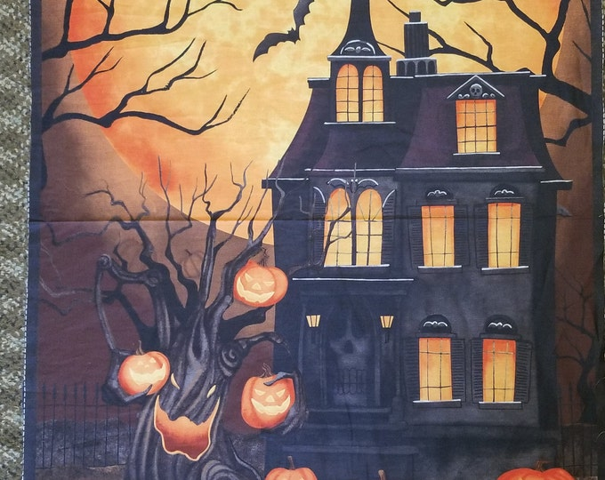 Trick or Treat Halloween Fabric Panel, Haunted Night Quilt Panel