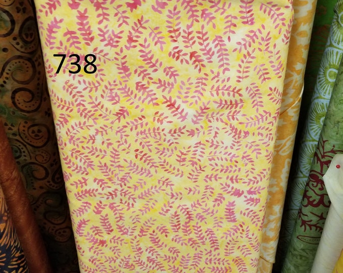 Batik Handpainted Quilt Fabric, Cut to order fabric, Green, Yellow, Red  736-753