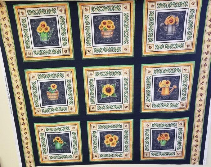 Sunflower Quilt Panel, Sunflower Fabric Panel