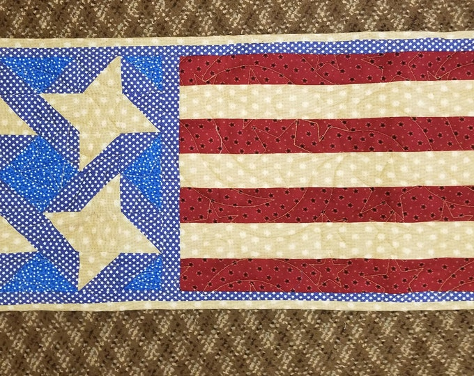 "American Flag Table Runner, Quilted USA Flag Table Runner, 15"" x 36"""