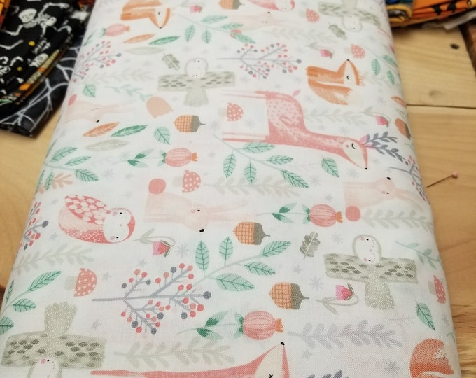 Woodland Animals Quilt Fabric, Cute Forest Friends Fabric