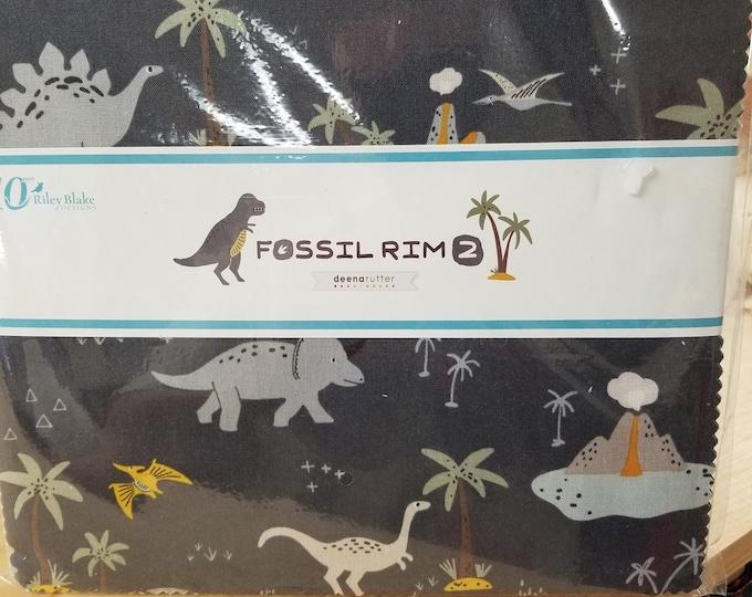 "Fossil Rim Layer Cake, 10"" Dinosaur Pre-Cut Squares"