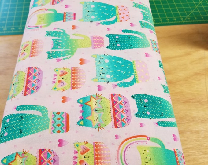 Cat Cactus Sweater Quilt Fabric, Cactus Kitten Fabric