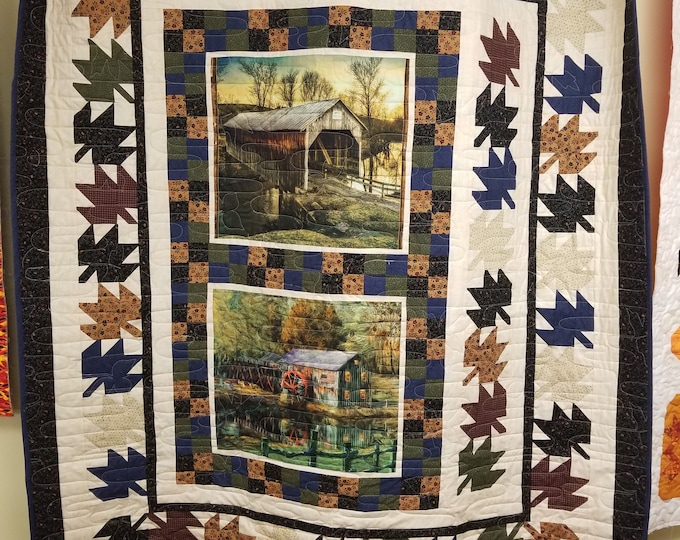 "Fall Quilt, Covered Bridges and Sawmills Quilt, 62"" x 72"","