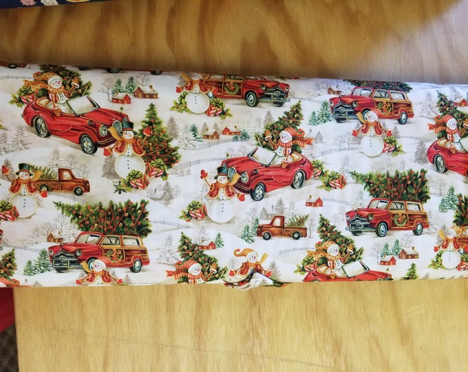 Christmas Antique Car and Snowman Quilt Fabric,  Holiday Heartland Fabric